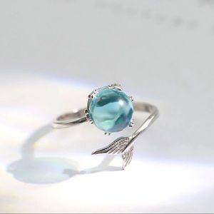 3/35 New Blue Aquamarine Mermaid Adjustable Ring